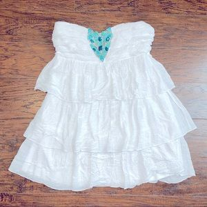 2b Bebe Strapless Silver turquoise Beaded Blouse
